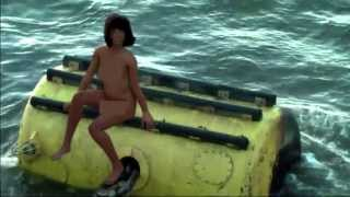 Girl nude on buoy in River Thames, London (Censored)