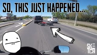 Motorcycle CRASH - PANIC-BRAKING and SLIDING UNDER A TRUCK