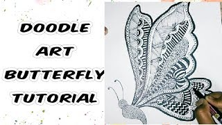 How to Draw Doodle Art | Butterfly Drawing | Easy Tutorial for Beginners