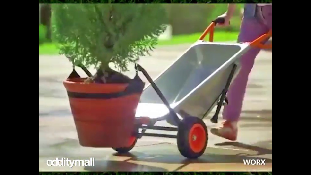Worx Aerocart Multifunction 2 Wheeled Yard Cart Dolly And Wheelbarrow With Flat Free Tires