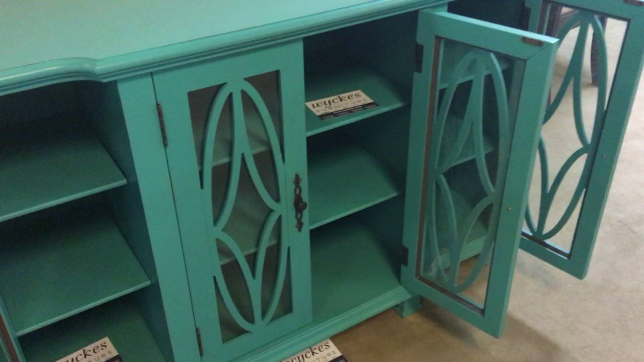 950245 Teal Accent Glass Door Decorative Wood Carves Doors Cabinet. Wyckes  Furniture