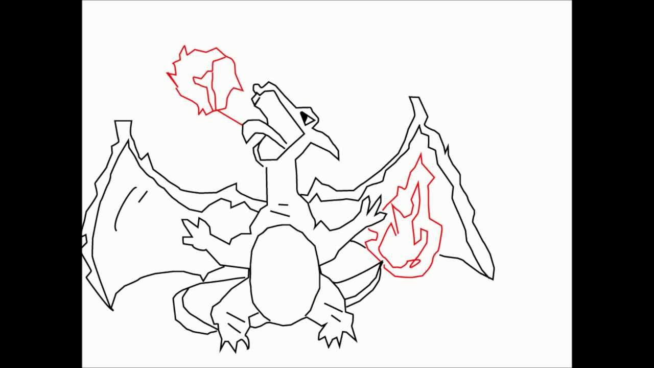 How to draw CHARIZARD from POKEMON Step-by-step tutorial