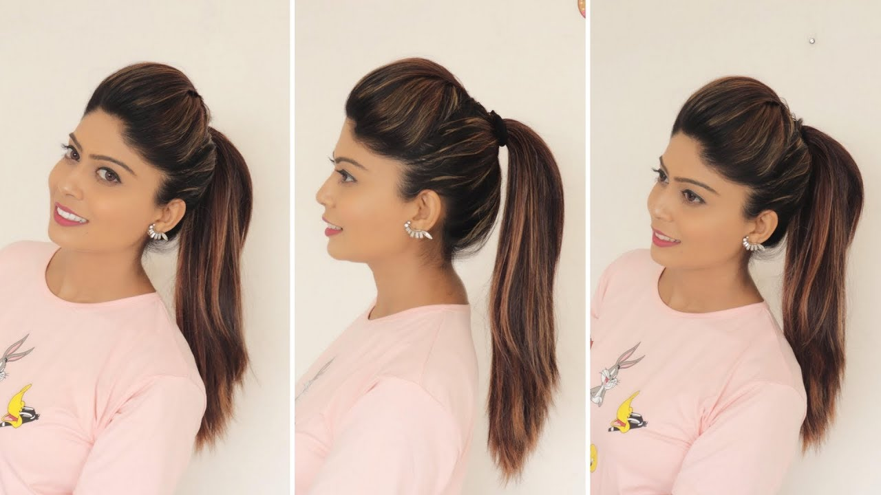 1 Minute Perfect High Ponytail With Puff Tips Tricks Rinkal
