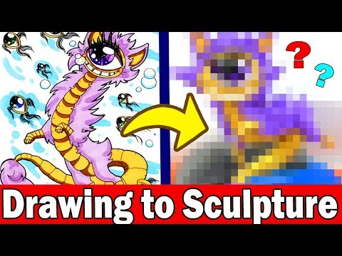 TURNING YOUR ART INTO SCULPTURE #7 Polymer Clay DIY CRAFT Art Challenge