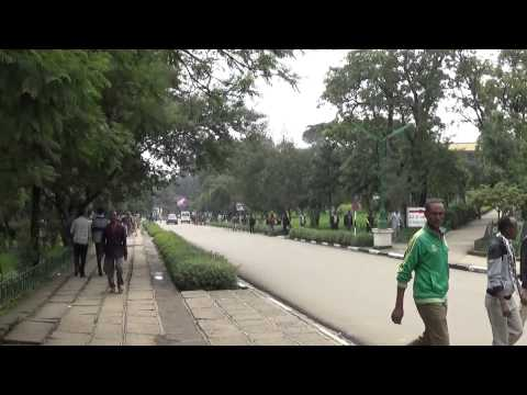 Campus of Addis Ababa University -- walking from gate to former presidential palace