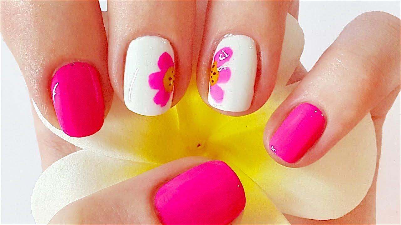 Easy Flower Nail Art Pink Flower Nail Art Youtube