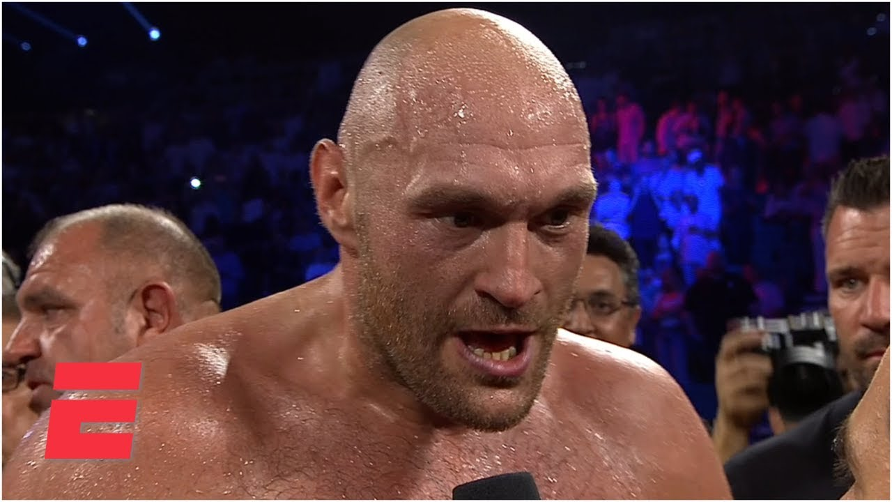 Tyson Fury Screams Bring Em All On After Ko Of Tom Schwarz Espn Boxing