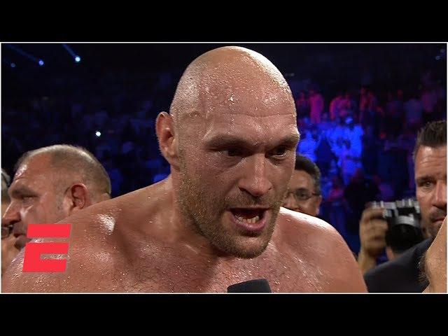 Tyson Fury screams bring em all on after KO of Tom Schwarz   ESPN Boxing