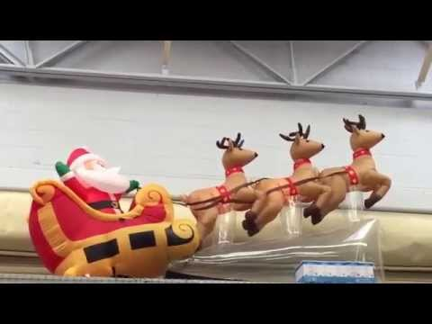 Santa Sled And Reindeer Inflatable Christmas Decoration