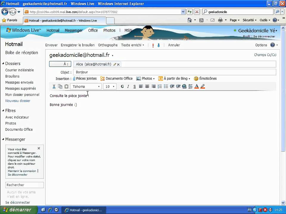 piece jointe outlook hotmail