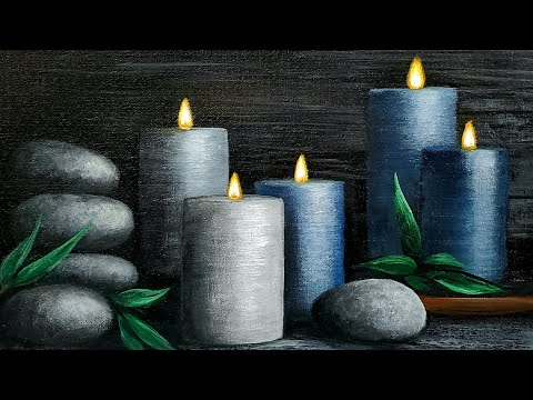 Spa Candles Acrylic Painting LIVE Tutorial