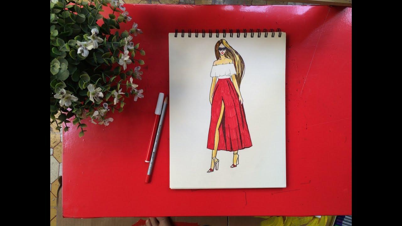 Tập thiết kế thời trang   Hướng dẫn vẽ váy đầm dạo phố   Dạy bé học