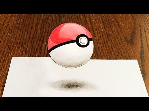 How to Draw Pokeball. 3D Artistic Drawing