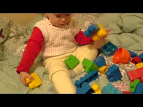 17 months toddler/baby playing with blocks