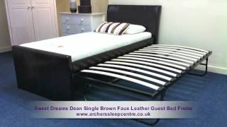 Sweet Dreams Dean Single Brown Faux Leather Guest Bed Frame