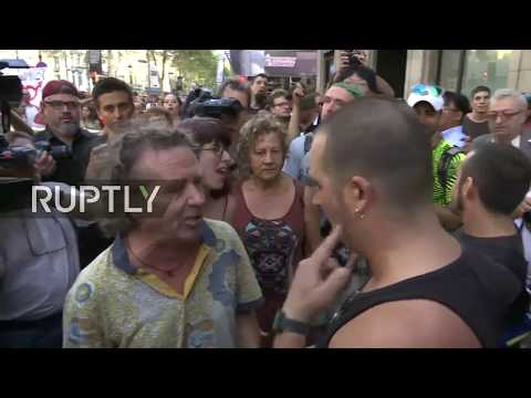 LIVE: Protesters march against 'Islamisation of Europe' rally in Barcelona after yesterday's attack