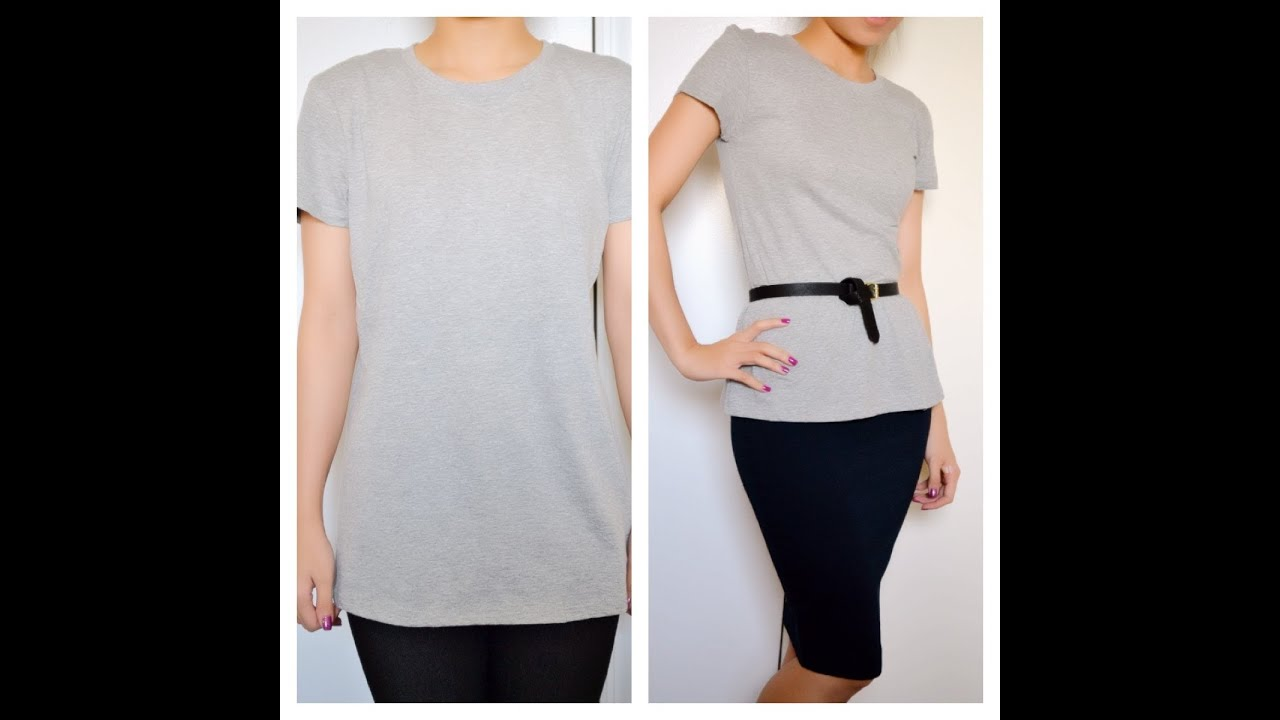 ✂ T Shirt Reconstruction: DIY Peplum T Shirt From A Large Sized Boxy T Shirt    Natalieu0027s Creations   YouTube