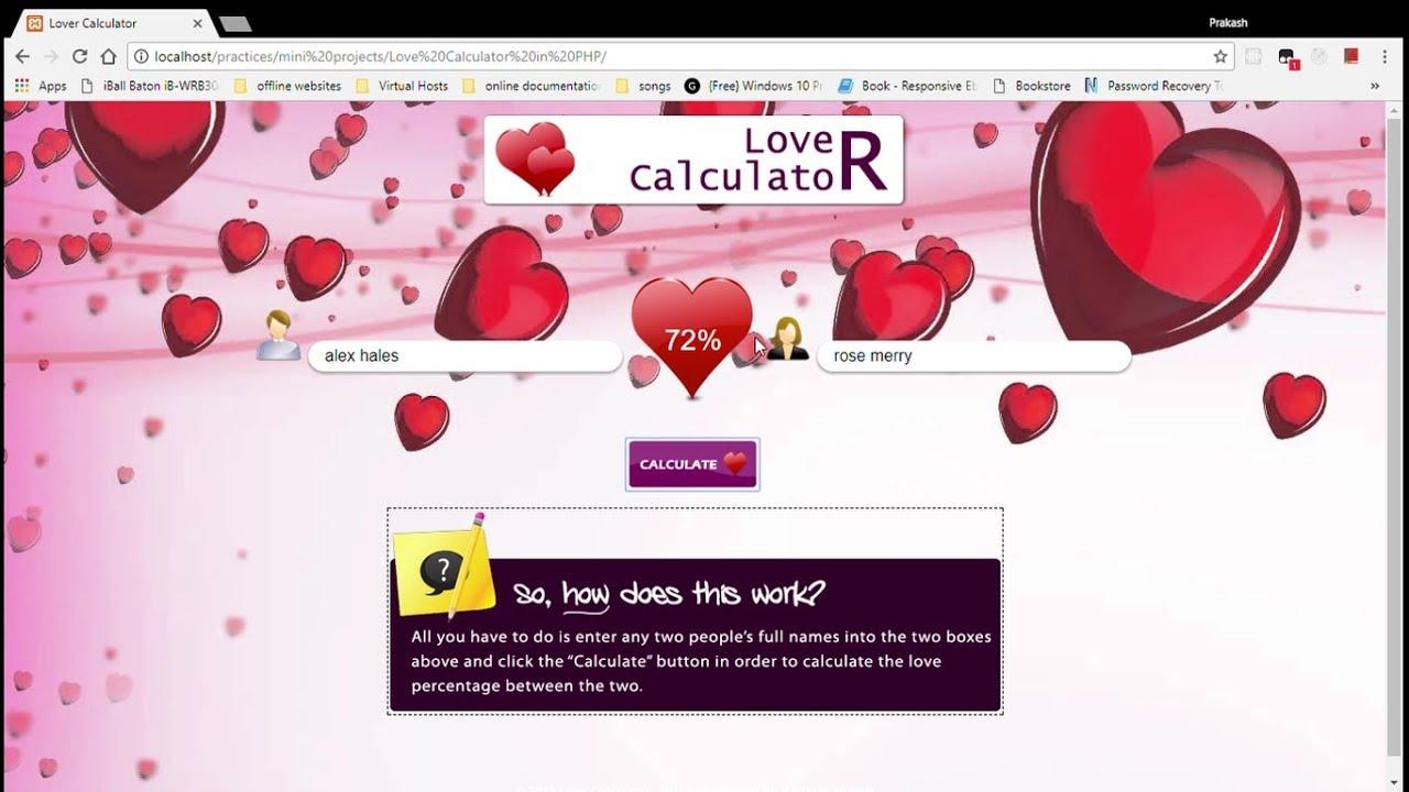 Uncategorized Online Love Calculator love calculator mini project youtube project
