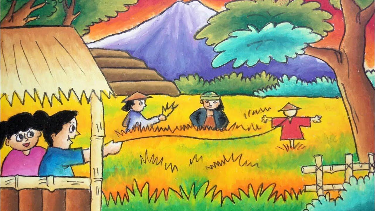 "New Cara Mewarnai Tema ""Pemandangan Sawah"" Oil Pastel Greebel Mozqi Drawing"