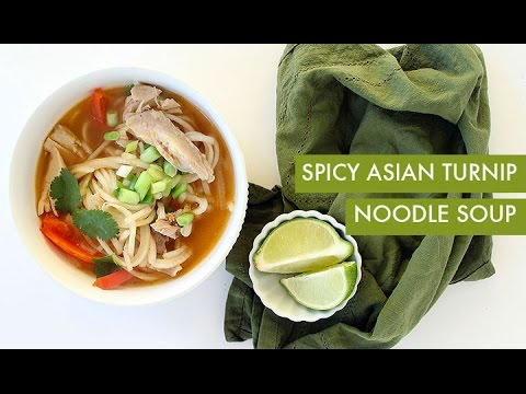 Spicy Asian Turnip Noodle Soup | Spiralizer Recipe