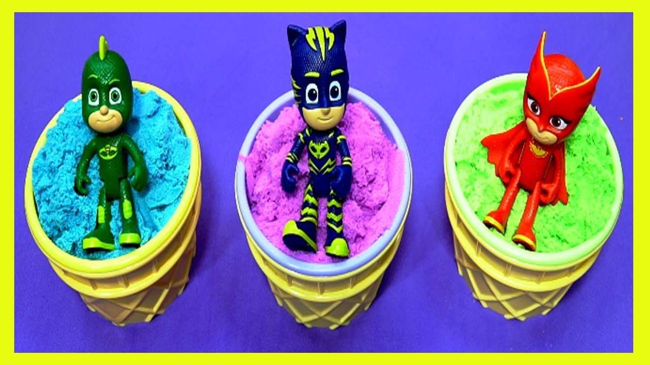 3 Color Kinetic Sand in Ice Cream Cups | Learn Colors With Pj Mask Toys