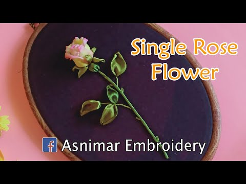 Ribbon Embroidery Of Single Rose Flower