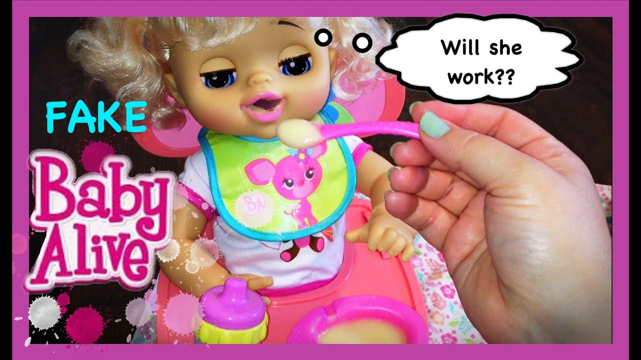 Fake Baby Alive Doll Test To See If She Works Feeding And