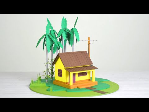 Morning in the village house - Making a beautiful paper house with trees