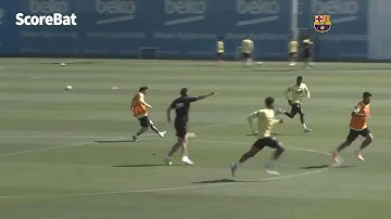 Messi hits the crossbar with a beautiful chip in training!
