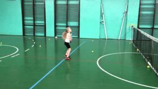 Драйв-воллей . Детский теннис, Лиза Довгопол, 5 лет. Drive-volley. Kids tennis,Liza,5 years old.