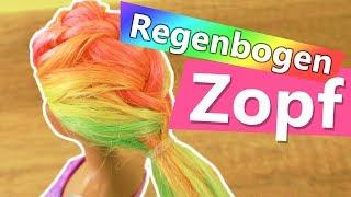 Barbie DIY Regenbogenzopf | Tolle neue Frisur für eure Barbie Puppe | Neon Haare für Barbie