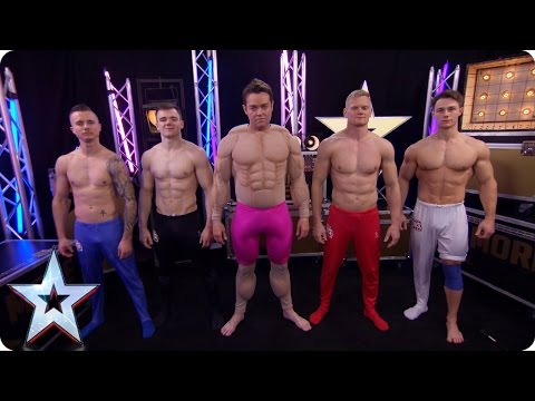 Stephen gets topless and joins hunky gymnasts 4G | Britain's Got More Talent 2017