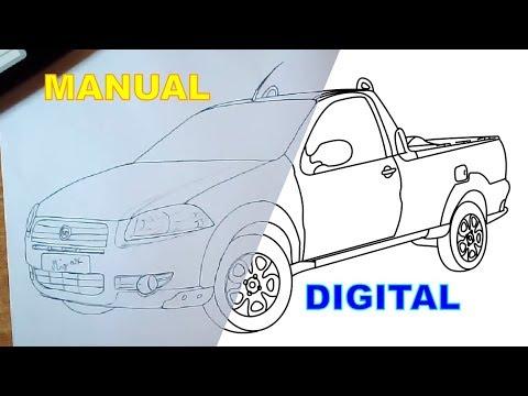 como desenhar fiat strada cabine youtube