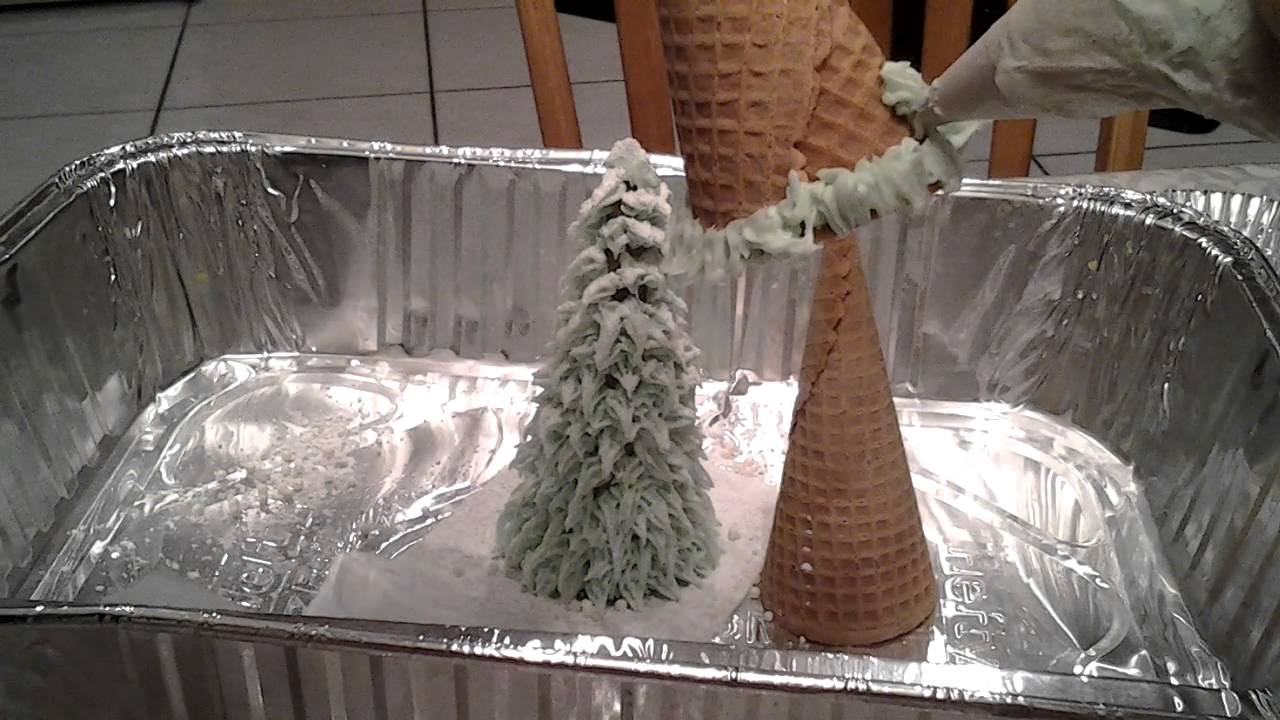 How To Make Cake Decoration Cone : Edible Sugar Cone Christmas Tree Tutorial Video - YouTube