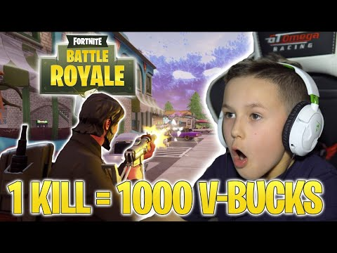 FORTNITE 1 KILL = 1000 V-BUCKS! | HOW MANY DID I GET?