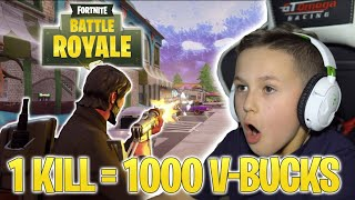 FORTNITE 1 KILL 1000 V-BUCKS! COMMENT MANY DID I GET?