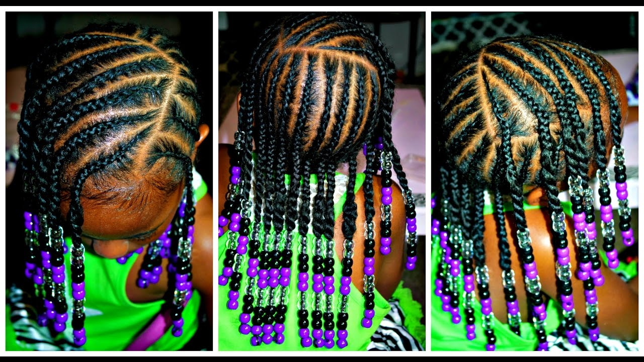 Little Girls Natural Hair Braids Beads Hairstyle Youtube