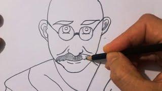 Cómo dibujar Mahatma Gandhi paso a paso - el dibujo de Mahatma Gandhi 4