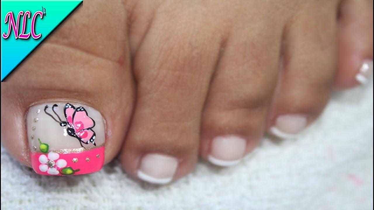 Decoración De Uñas Para Pies Mariposa Y Flor Butterfly Nail Art