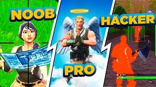 noob vs pro vs hacker no fortnite...