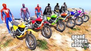 TEAM SpiderMan VS TEAM Batman Motorcycle Mountain Stunt Challenge - GTA V MODS