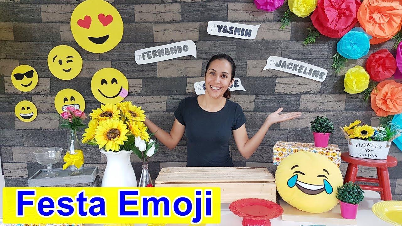 DECORA u00c7ÃO DE FESTA EMOJI #outubroTODODIA YouTube -> Decoração De Festa Tema Emoji