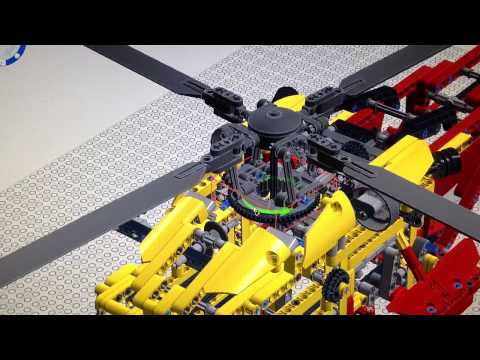 Lego helicopter realistic roter head swashplate LDD cyclic & collective sim