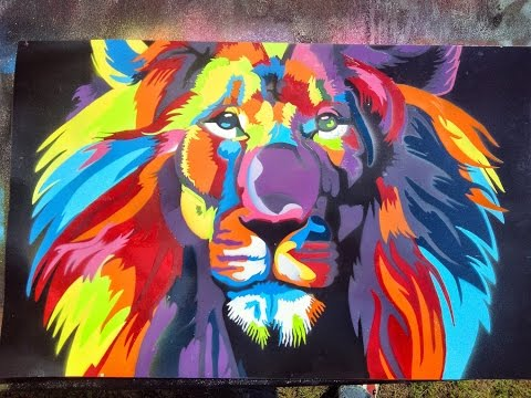 Lion Spray Paint Art