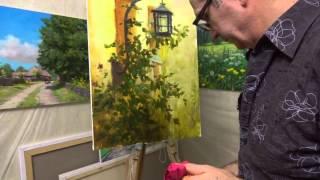 пишем маслом Фонарь и куст розы  художник Георгий Харченко