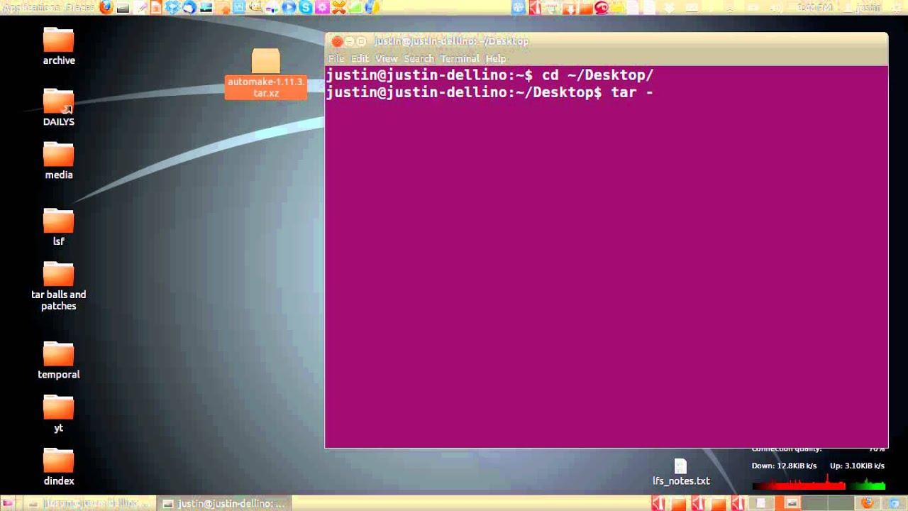 extract a tar xz file in ubuntu 12 04