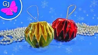 Шар на ёлку своими руками ~ Новогодние украшения из бумаги(Как сделать новогодний шар на елку своими руками, мастер класс. Яркий бумажный шарик можно сделать из цветн..., 2016-12-01T07:34:08.000Z)