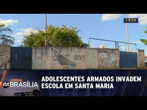 Adolescentes armados invadem escola em Santa Maria | Jornal SBT Brasília 29/08/2018