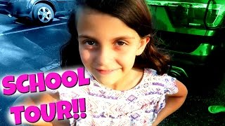 ELLIE'S SCHOOL TOUR!  5 BELOW HAUL!  GYMNASTICS CLASS!