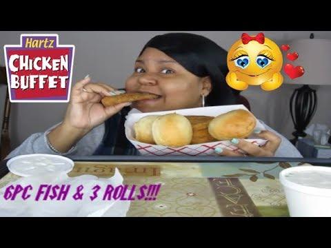 HARTZ CHICKEN 6 Pc FISH & 3 DINNER ROLLS - MUKBANG!!!
